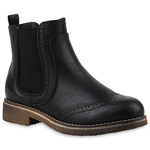 Chelsea Damen Schuh (Damen Stiefeletten Chelsea Boots Freizeit Schuhe 145832 Schwarz Cabanas 40 Flandell)
