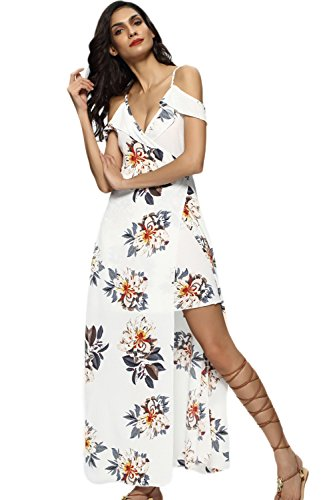 ... Damen Ist Sommer Schulter Ab Split Long Beach Party - Kleid White