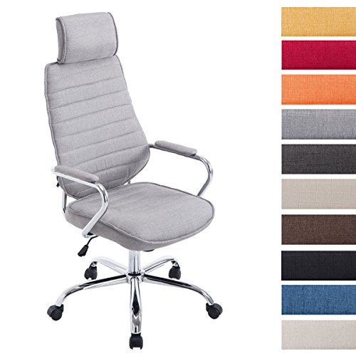 CLP Silla de escritorio RAKO con acolchado grueso y de calidad. Con tapizado de tela. La altura del asiento es regulable: 46   57 cm. Tiene reposabrazos, apoyacabezas y función de balanceo. gris claro