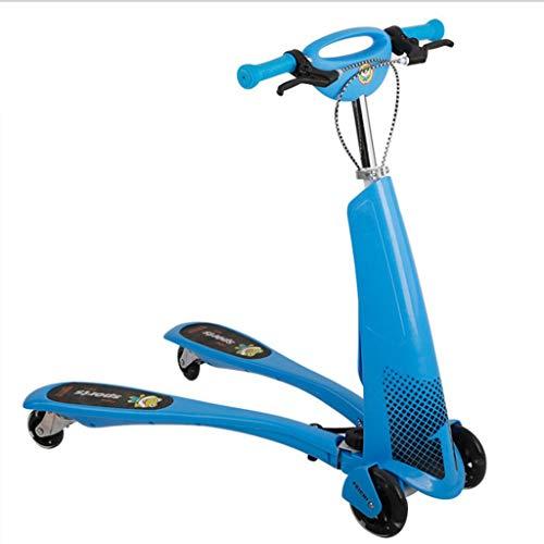 Monopattino Scooter Y Flicker Scooter - Wiggle Scooter per Bambini, 4 Ruote Spingere Swing Scooter, 4+ Anni, Supporto 100kg, Blu/Verde/Rosa (Colore : Blu)