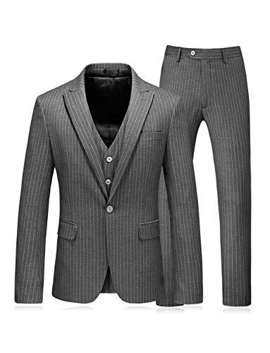 UMISS Herren Streifen 3-teiliger Anzug Jacke und Hose und Weste -