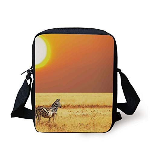 Safari Decor,Zebra at Sunset on The Grass African Mammal Culture Icon Tropical Lands Photo,Yellow Orange Black Print Kids Crossbody Messenger Bag Purse -