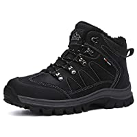 AX BOXING Mens Snow Boots Winter Warm Ankle Walking Hiking Boots Fully Fur Lined Anti-Slip Leather Work Shoes Size 6.5-12 2