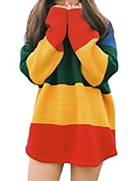 Jersey Mujer De Punto Otoño E Invierno Manga Larga Cuello Redondo Elegante  Vintage Street Style Multicolor 117f947bd78f