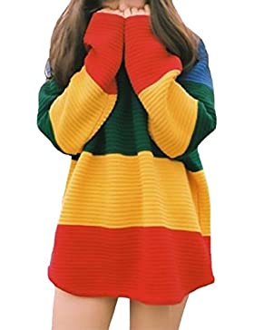 Jersey Mujer De Punto Otoño E Invierno Manga Larga Cuello Redondo Elegante Vintage Street Style Multicolor Rayas...