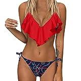 Aiserkly Damen Bandage Bikini Set Push Up brasilianischen Print Bademode Beachwear Swimsui Rot S