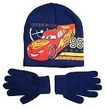 Disney Cars 3 Mütze und Handschuhe Jungen Lightning McQueen (Blau, 4-7 Jahre; One Size)