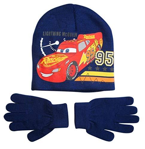 Disney Cars 3 Mütze und Handschuhe Jungen Lightning McQueen (Blau, 4-7 Jahre)