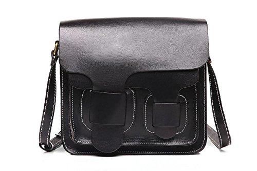 Leder Handtasche Vintage Wildleder Leder Schulter geschlungen Taschen Black