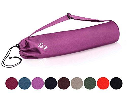 Borsa da yoga »Devala« di #DoYourYoga in pregiato cotone, lavorazione di qualità, adatta a tutti i tappetini da yoga di dimensioni fino a 180 cm x 62 cm x 0,6 cm, colore: lilla
