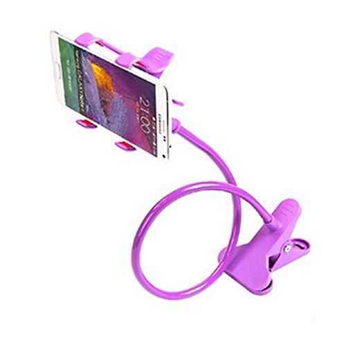 BADALink Handyhalter Handy Halterung Schwanenhals Halter Universal Ständer für Smartphone unter 6.5''Zoll Tablet 360° Drehen-lila