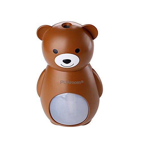 PUAroom Bärchen-Luftbefeuchter 160mL mit 3 Farben Brown/Grau/Blau, Automatische Abschaltung,Feuchtigkeitsabgabe für Autos Räume,Büros, Spa usw -
