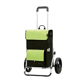 Andersen Einkaufstrolley Royal XXL mit 3-Speichenrad 25 cm und 45 Liter Einkaufstasche Asta schwarz/grün mit Kühlfach, Gestell aus Aluminium klappbar