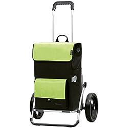 Andersen Chariot de courses Royal XXL avec sacoche Asta verte, volume 45L, poche isotherme, cadre aluminium et roues à 3 rayons