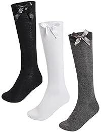 4a4d89a0a4732 12 Pairs Kids Girls Plain Knee High School Cotton Rich Socks With Bow Ribbon