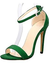 DULEE Damen und Dame Stiletto High Heel Sandalen, Grün 39