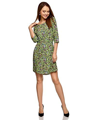 oodji Ultra Damen Viskose-Kleid mit 3/4-Arm, Grün, DE 38/EU 40/M (Arm-silhouette)