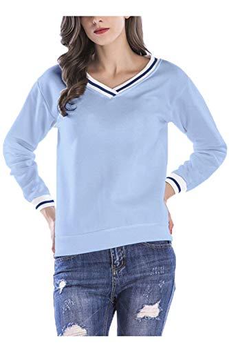 Frauen Pullover V Ausschnitt Lange Ärmel Leichte Shirt Perfect Lässig Basic T-Shirt Tops Oberteile Herbst Style (Color : Blau, Size : M)