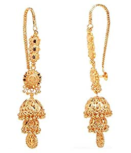 GoldNera Pretty Ethnic deisgner Kaan chain Jhumki Earring