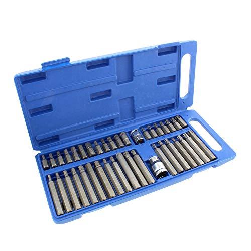 ABN Steckschlüssel-Set, Sechskant, Torx, XZN, 40-teilig, 6-eckig, Sternantrieb, 3-eckiger Steckschlüsselsatz - 5 Spline Drive Adapter