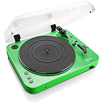 Lenco L-85 Green   33 & 45 RPM Semi-Automatic Belt Drive USB Turntable for Vinyl with Integrated Stereo Pre-Amplifier and Moving Magnetic Cartridge (MMC) - Green Record Player
