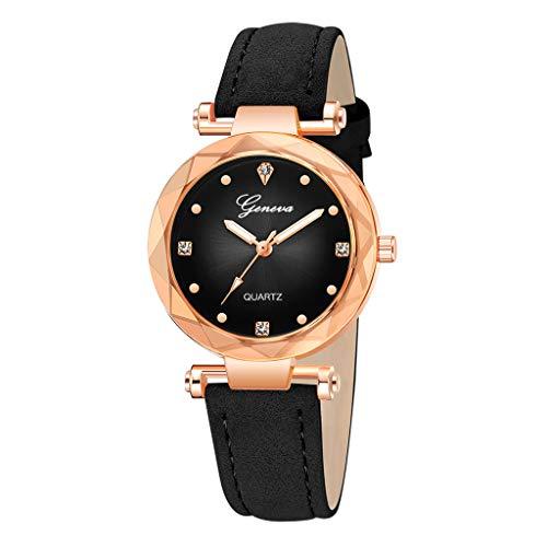 Armbanduhr Damen, Frauen Damenuhr Suede Analog Quarz mit Leder Armband Uhr Ultradünn Damenarmbanduhr Mädchen Geschenk 2019 Neu LEEDY ()
