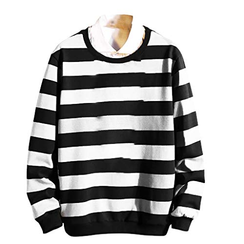 Womens Kostüm Ghostbuster - BHYDRY Herren Mode Striped Longsleeved Bademantel Komfortable Größe Mantel(XXXX-Large,Weiß)