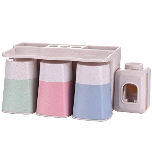 Dispensador automático de pasta de dientes MOISO con ventosa superadhesiva para montar en la pared, paja de trigo natural, no acumula polvo, con vasos para enjuague, manos libres, para toda la familia, silicona, beige, 3 tazas