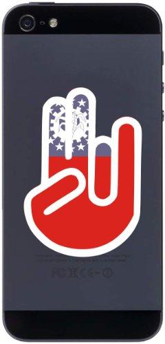 The Shocker Hand - Handyaufkleber / Handyskin / Aufkleber - Decal Sticker - 70x50 mm - weißer Umriss mit Fahne / Flagge - Burma-Birma (Burma Nationalflagge)