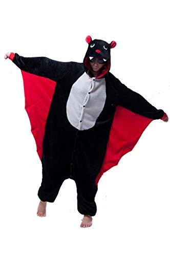 LIHAO Fledermaus Onesie Pyjamas Schlafanzug unisex Erwachsene Nachtwäsche Anime Cosplay Halloween Kostüm Kleidung Tier (Größe: L)