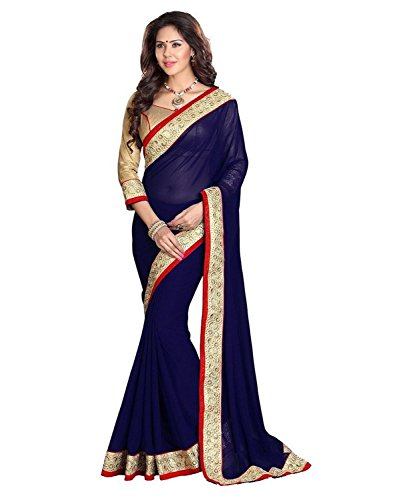 Sareeshop Faux Georgette Saree With Blouse Piece (_Blue_Free Size)