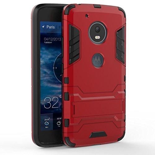 YHUISEN Moto G5 Case, 2 In 1 Iron Armour Tough Style Hybrid Dual Layer Armor Defender PC + TPU Schutzhülle mit Stand Shockproof Gehäuse für Motorola Moto G5 ( Color : Silver ) Red
