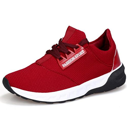 Men's Thick Soles Black White Solid Color Lacing Comfortable Walking Shoes red