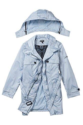 Ulla Popken Femme Grandes tailles Manteau Slim Trench Jacket avec Ceinture de Taille Boutonnage Manteau Vetements d'exterieur 709174 bleu azur