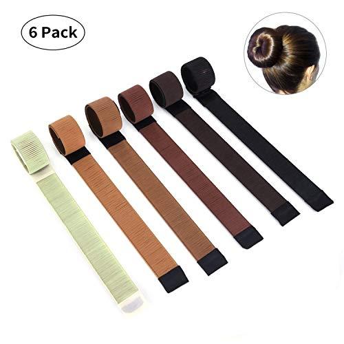 dutt hilfsmittel Xuanle Damen Fashion Hair Styling Tool Donut Hair Bun Maker Knotenringe für Lange und Dicke Haare (6 Stücke)
