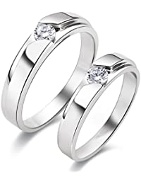 Silverish Forever Love Matching Ring For Him And Her Alloy Cubic Zirconia Rhodium Plated Ring Set - B076V8BJF6