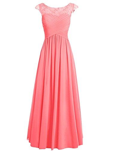 Dresstells Damen Bodenlang Chiffon Promi-Kleider Brautjungfernkleider Abendkleider Blau