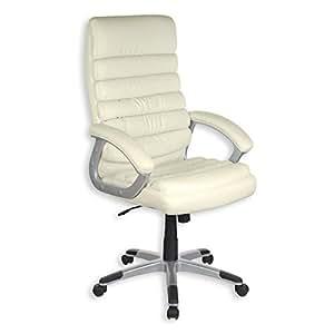 Fauteuil chaise de bureau avec accoudoirs KING, hauteur réglable revêtement synthétique blanc