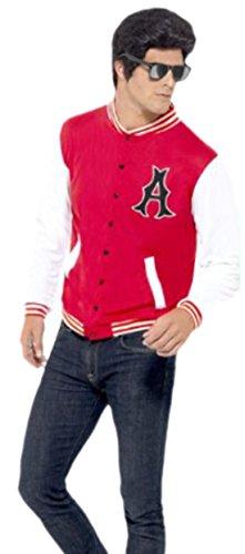 Karnevalsbud - Herren 50er Jahre, College Boy, Collegejacke, Kostüm, M, Rot-Weiß