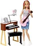 Barbie Métiers poupée Musicienne blonde avec haut gris et guitare rose, jouet pour enfant, FCP73