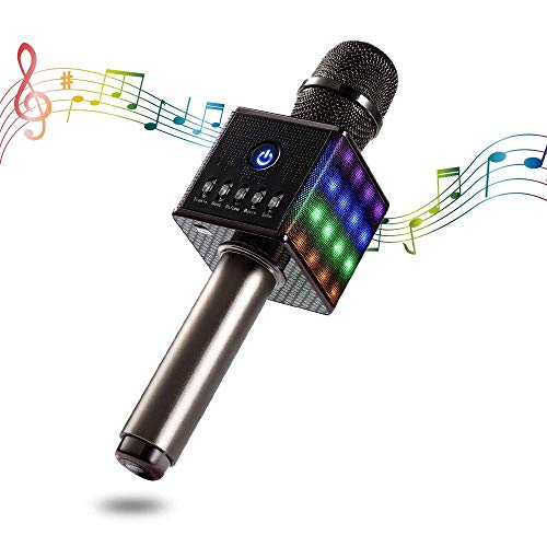 Bluetooth Karaoke Mikrofon, Apestool Tragbare Drahtlose Mikrofon mit Schönem Licht, Dynamische Mikrofone mit Lautsprecher für Ruhige Zeit Party Reise Camping- Grau