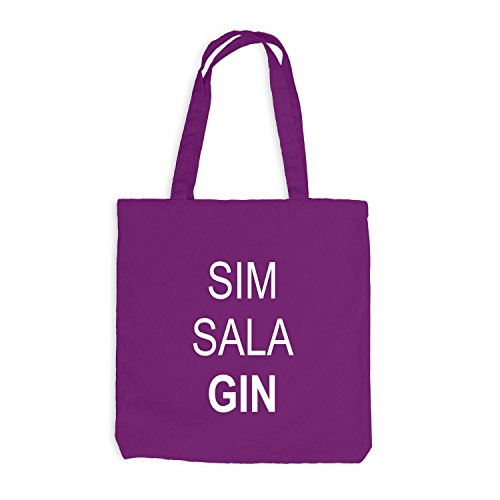 Jutebeutel - SIM SALA GIN - Fun Barkeeper Bartender Magenta