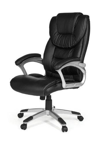 AMSTYLE, Bürostuhl, Madrid, Bezug Kunstleder Schwarz Schreibtischstuhl Design X-XL 120 kg