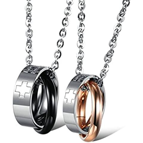 Daesar 2Pcs Conjunto de Joyer¨ªa Colgante Collares Acero Mujer Hombre, Cruz Anillosjoya Regalos Colgantes Enamorados para