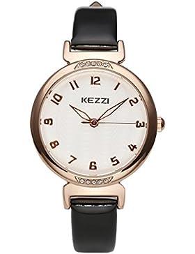 JSDDE Uhren,Elegant Damen Armbanduhr mit Strass XS Slim Rosegold Damenuhr Lederband Analog Quarzuhr Geschenk,Schwarz