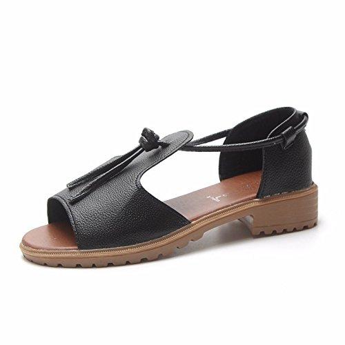 BTBTAV Dew-Toe Flachen Mulde Strap Sandalen Sommer Neue Mode Set Foot Mädchen Sandaletten EU 36 Schwarz