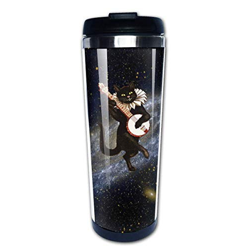 Banjo Cat Travel Coffee Mug Cup Water Bottles 13.5 Oz 16 Oz Sip-top