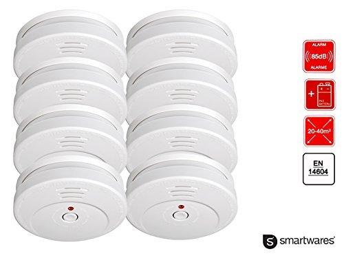 8er-Set Optischer Rauchmelder reinweiß, 85dB Alarm, Testtaste, Batteriewarnung; Smartwares RM149