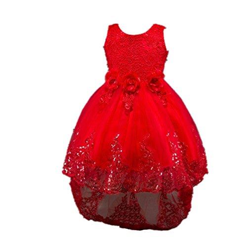 WanYang Estate Dei Vestiti Ragazza Principessa Vestito Bambina Irregolare Pizzo Senza Maniche Abito Da Sera Rosso