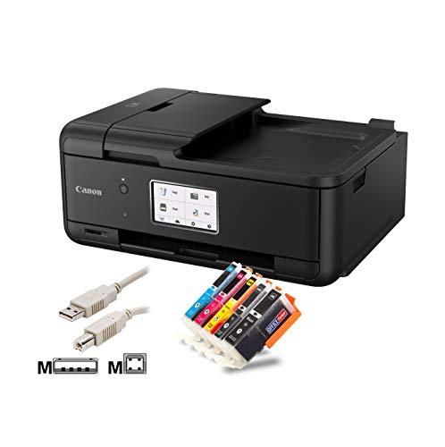 Canon PIXMA TR8550 Tintenstrahl-Multifunktionsgerät Bundle mit komp. Patronen + USB-Kabel (4-in-1, USB, ADF, Duplex, LAN, WLAN, Bluetooth, Mobil/Cloud-Print) (mit 5 komp. Patronen) (Drucker-usb-verbindung)